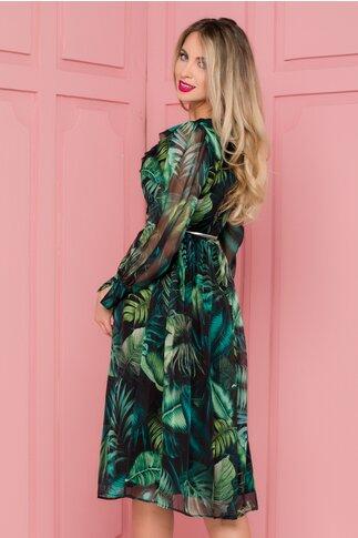 Rochie Leonard Collection neagra cu imprimeu exotic verde