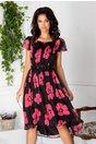 Rochie Leonard Collection neagra cu imprimeu floral roz