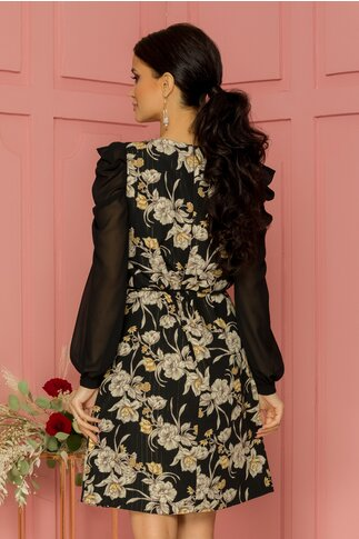 Rochie Leonard Collection neagra cu imprimeu floral si insertii aurii