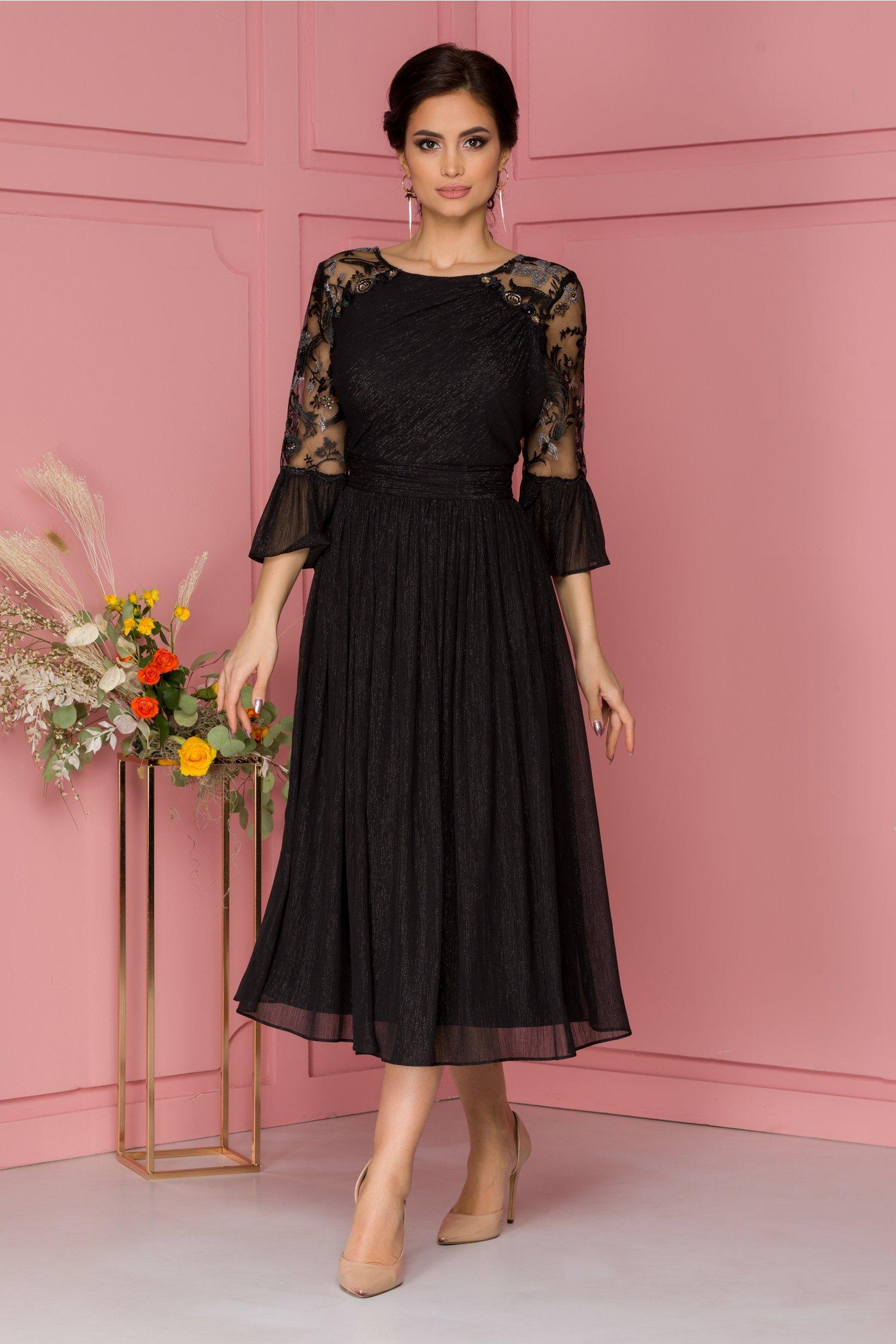 Rochie Leonard Collection neagra cu lurex auriu si broderie florala cu paiete