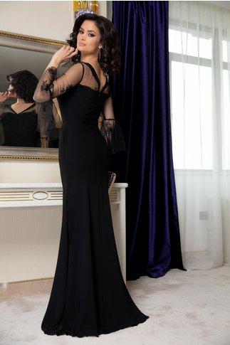 Rochie Leonard Collection neagra cu maneci din tull brodat