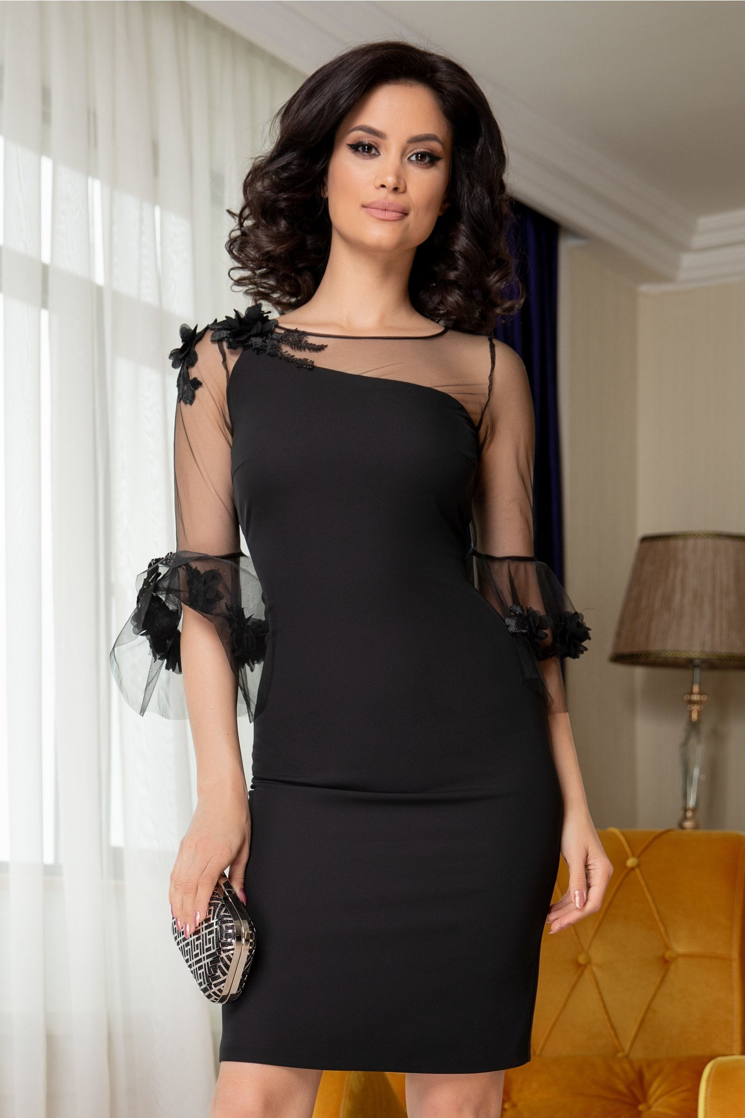 Rochie Leonard Collection neagra cu maneci tip clopot si broderie 3D