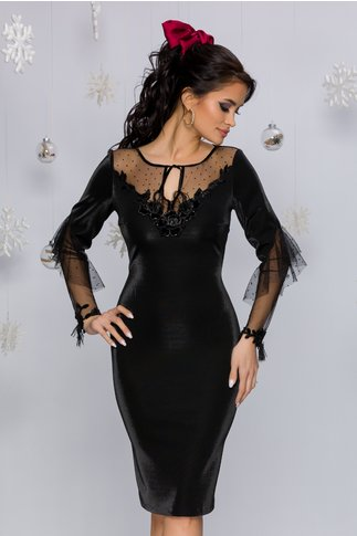 Rochie Leonard Collection neagra cu reflexii si insertii din tull