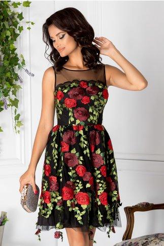 Rochie Leonard Collection neagra cu trandafiri rosii brodati