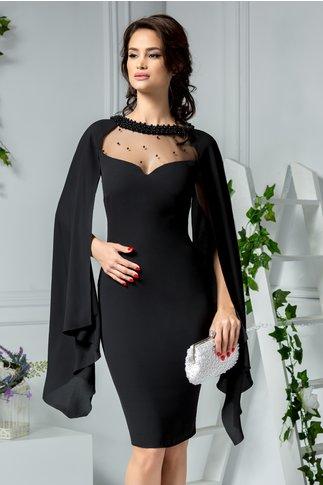 Rochie Leonard Collection neagra de ocazie cu perle la guler