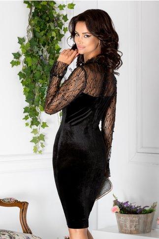 Rochie Leonard Collection neagra de seara din catifea cu perle