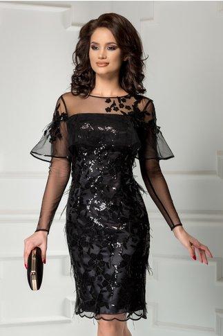 Rochie Leonard Collection neagra de seara din paiete cu pene