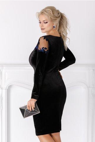 Rochie Leonard Collection neagra din catifea cu broderie albastra
