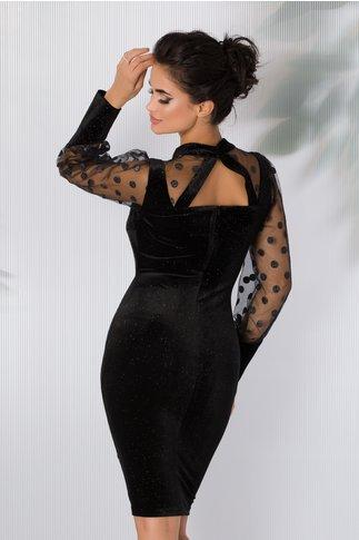 Rochie Leonard Collection neagra din catifea cu glitter