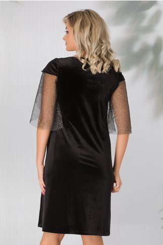 Rochie Leonard Collection neagra din catifea cu maneci din tull cu glitter