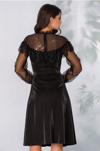 Rochie Leonard Collection neagra din lurex cu insertii din dantela Chantilly si broderie din paiete