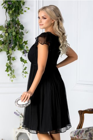 Rochie Leonard Collection neagra din matase naturala