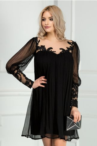 Rochie Leonard Collection neagra din matase naturala eleganta