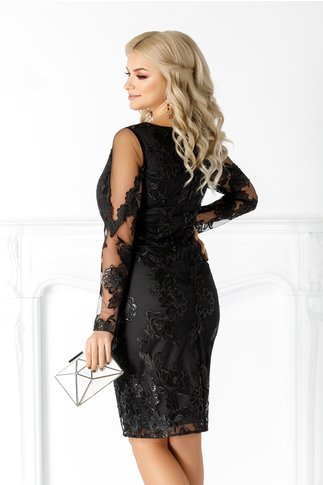 Rochie Leonard Collection neagra din tull cu broderie florala