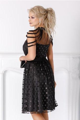 Rochie Leonard Collection neagra din tull cu buline din sclipici