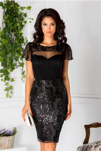 Rochie Leonard Collection neagra din voal si broderie cu paiete