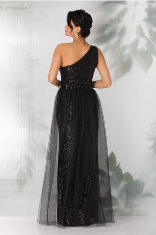 Rochie Leonard Collection neagra lunga cu paiete si trena