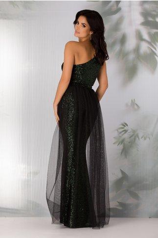 Rochie Leonard Collection neagra lunga cu paiete verzi si trena