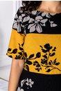 Rochie Leonard Collection negru cu galben si imprimeu floral