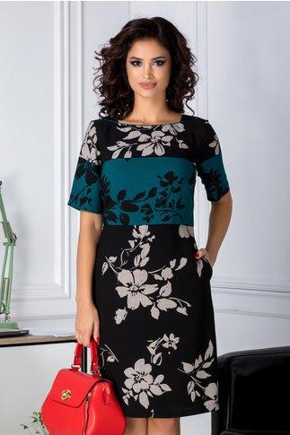 Rochie Leonard Collection negru cu turcoaz cu imprimeu floral