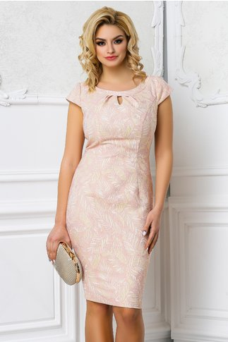 Rochie Leonard Collection Raisa roz pudra eleganta