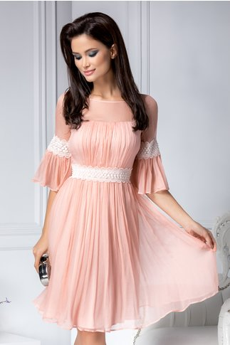 Rochie Leonard Collection rose din matase naturala