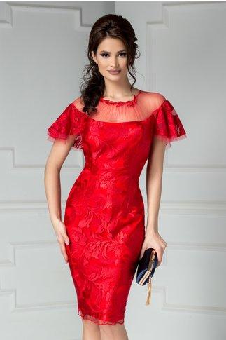 Rochie Leonard Collection rosie de lux de seara din broderie