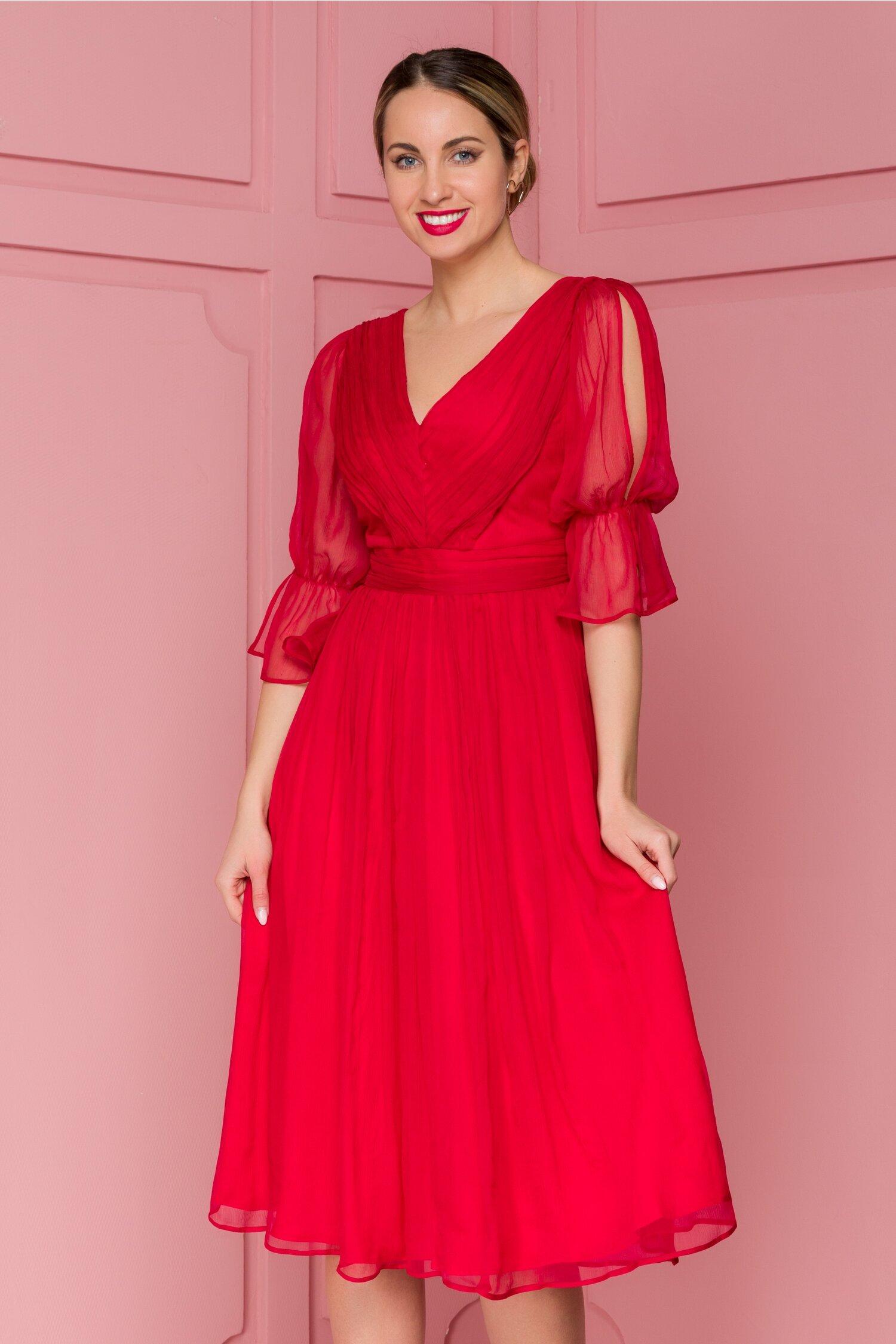 Rochie Leonard Collection rosie din matase