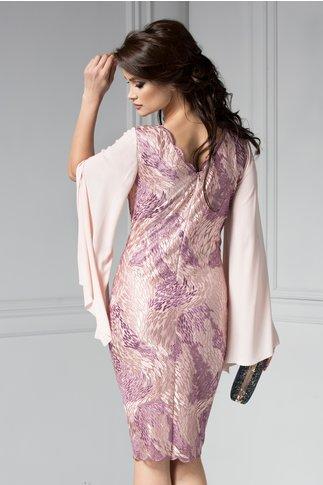 Rochie Leonard Collection roz din broderie si maneci despicate