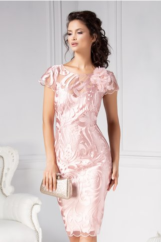 Rochie Leonard Collection roz din tull brodat