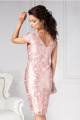 Rochie Leonard Collection roz din tull brodat