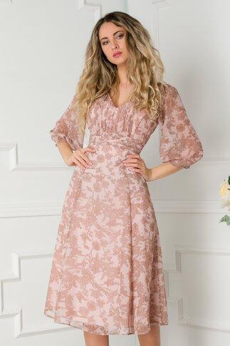 Rochie Leonard Collection roz pal cu imprimeu floral si insertii aurii