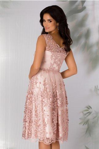 Rochie Leonard Collection roz prafuit cu broderie florala