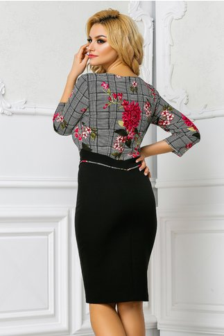 Rochie Leonard Collection Tea office cu imprimeu roz