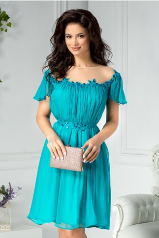 Rochie Leonard Collection turcoaz din matase naturala