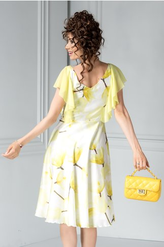 Rochie Leonard Collection vaporoasa cu flori galbene