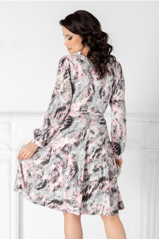 Rochie Leonard Collection vaporoasa cu imprimeu roz-gri