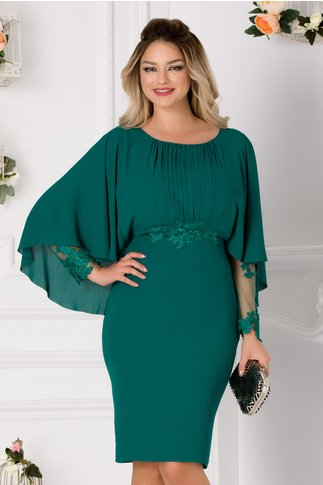 Rochie Leonard Collection verde cu broderie florala in talie si voal tip capa