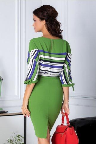 Rochie Leonard Collection verde cu dungi albe si albastre