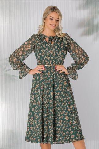 Rochie Leonard Collection verde cu imprimeuri florale