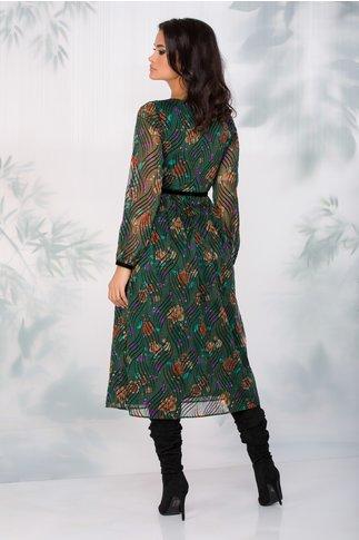 Rochie Leonard Collection verde cu insertii din catifea neagra si imprimeu floral