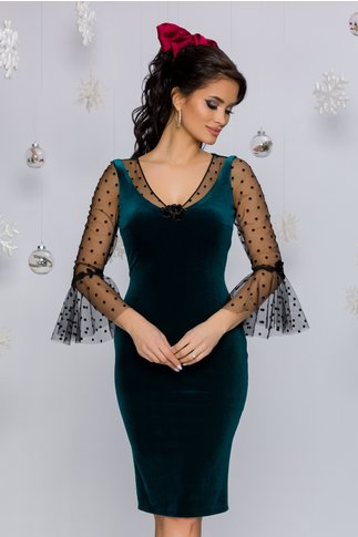Rochie Leonard Collection verde cu maneci din tull in clos