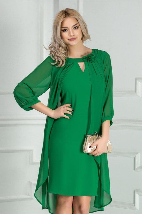 Rochie Leonard Collection verde cu voal eleganta
