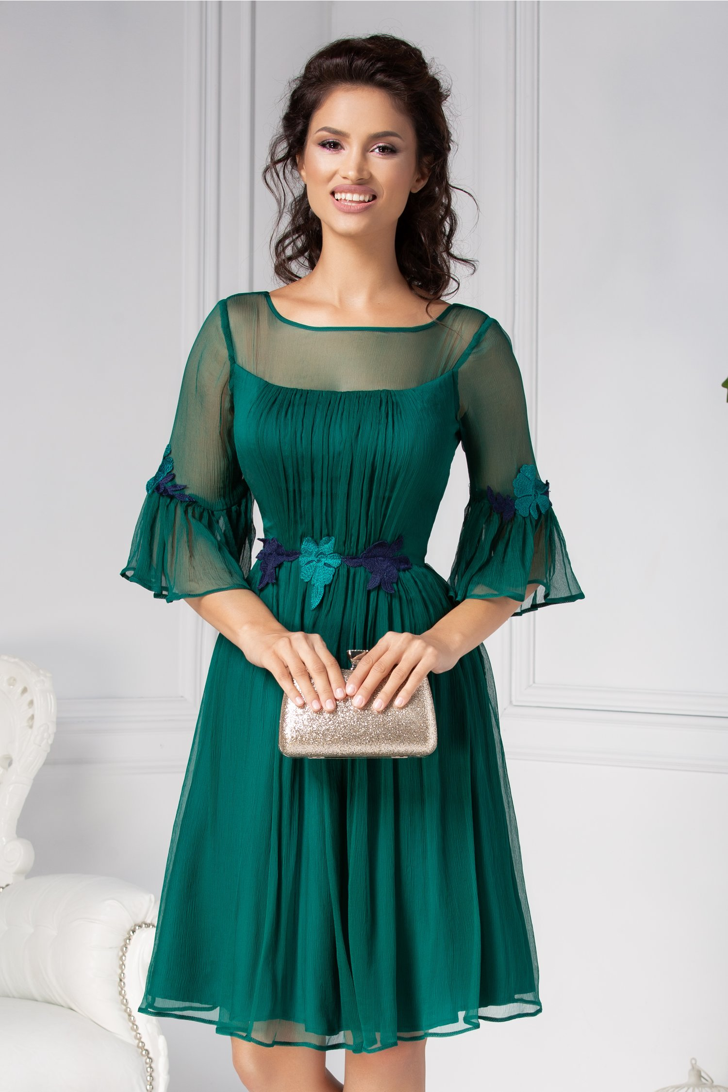 Rochie Leonard Collection verde din matase naturala