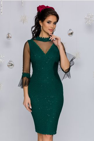 Rochie Leonard Collection verde smarald accesorizata cu tull si paiete