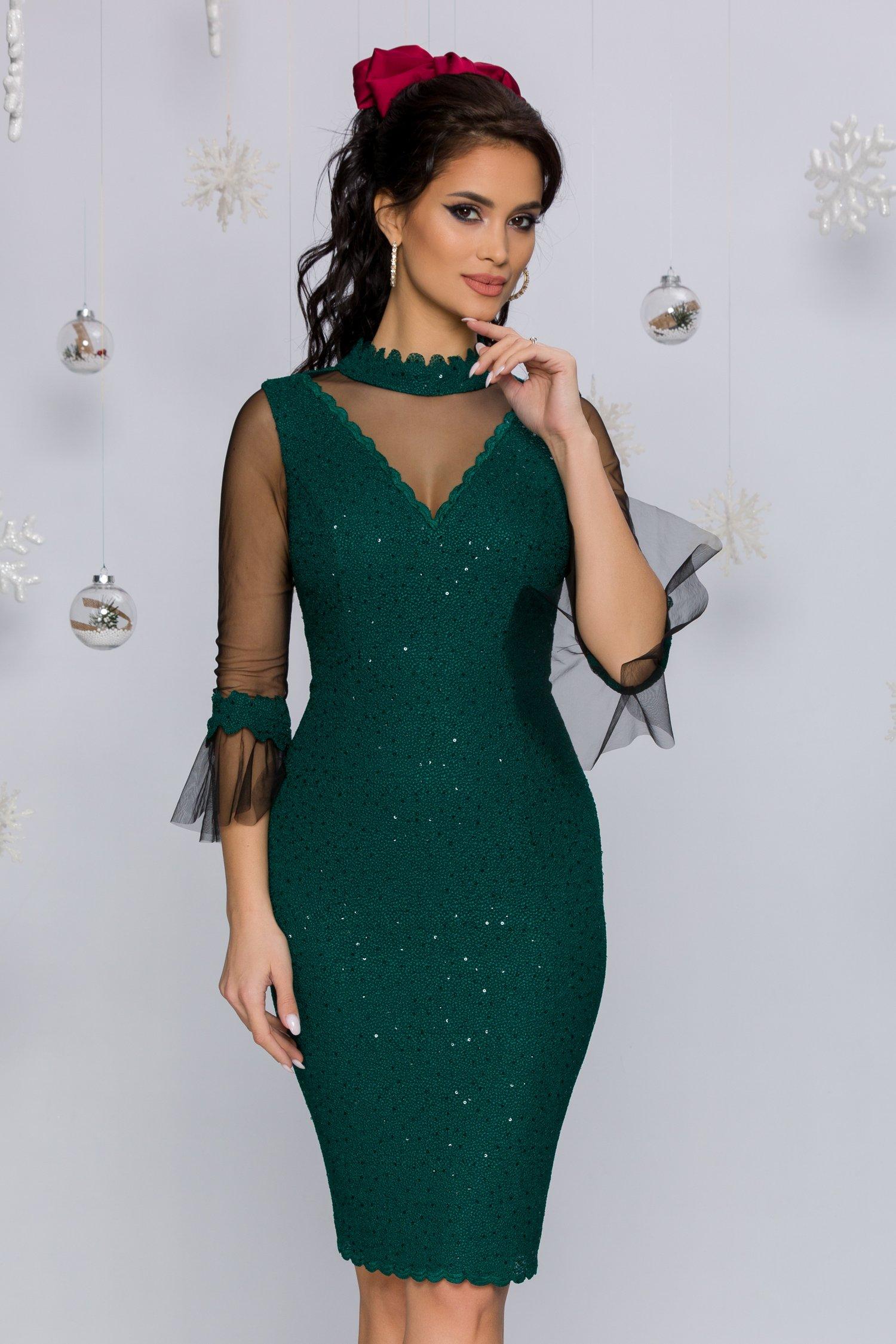 Rochie Leonard Collection verde smarald accesorizata cu tull si paiete