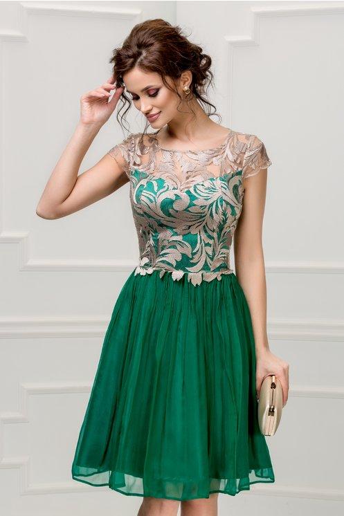 Rochie Leonard Collection verde smarald din matase naturala