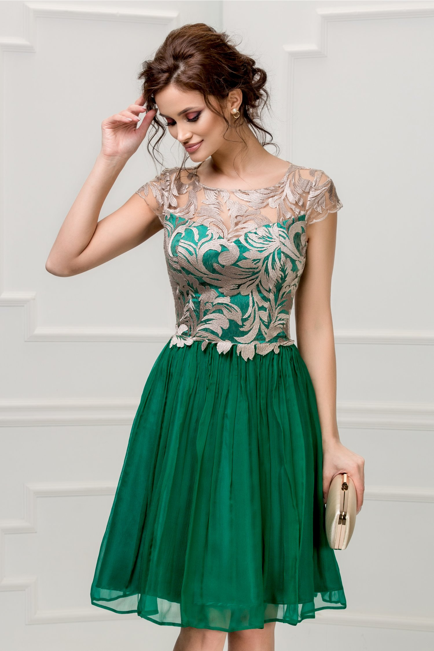 Rochie Leonard Collection verde smarald din matase naturala