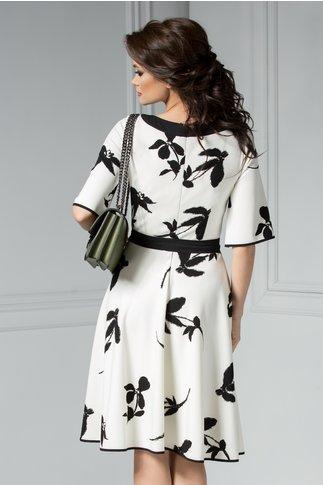 Rochie Leonard Collection Vivienne alba midi cu imprimeu negru