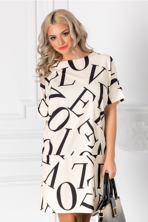 Rochie Letter ivory over size